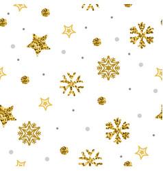 elegant a flat golden snowflakes seamless pattern vector image
