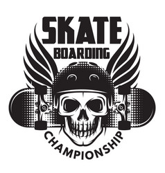 Emblem for skateboarding with skull wings and vector