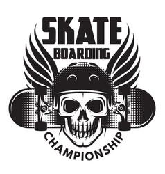 Emblem for skateboarding with skull wings vector