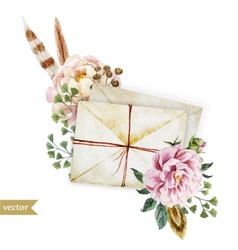 Envelopes with flowers vector