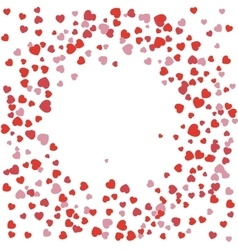 Festive background Red hearts arranged in a circle vector image