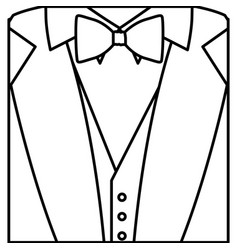 Figure sticker suit with bow tie icon vector