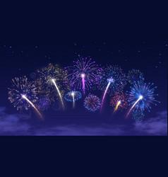Fireworks arc on starry night sky vector