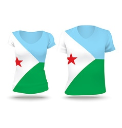 Flag shirt design of Djibouti vector image