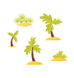 Flat set of bright green palms trees and vector