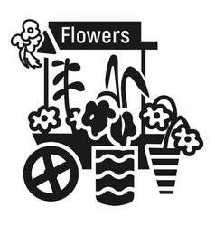 flower cart icon simple style vector image