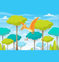 Flying dinosaurs cartoon composition vector