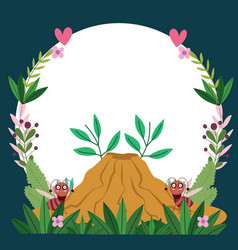 Funny bugs ants with anthill flowers foliage vector