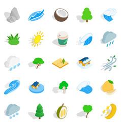 gardening icons set isometric style vector image