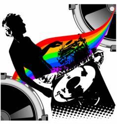 Girl dj and rainbow music vector