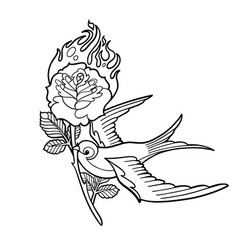 Graphic swallow carrying flaming flower vector