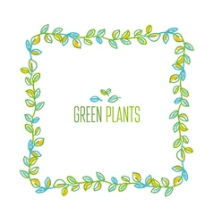 Green leaves frame design element in hand drawn vector image