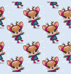 greeting christmas card cute drawn deer with vector image