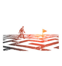 Hand drawn man walking on maze to navigation flag vector