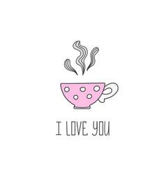 hand drawn polka dot tea cup vector image