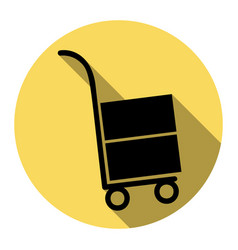 hand truck sign flat black icon with flat vector image