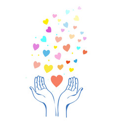 Hands and heart concept for help and kindness vector