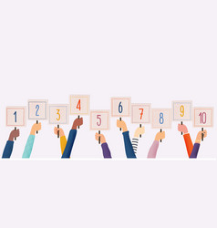 hands holding cards with amount scores got vector image