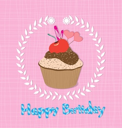 Happy Birthday cupcakes vector