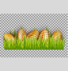 happy easter big hunt with golden eggs on grass vector image