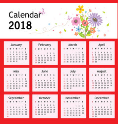 happy new year flower planner calendar 2018 vector image