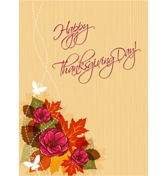 Happy thanksgiving day with flowers vector
