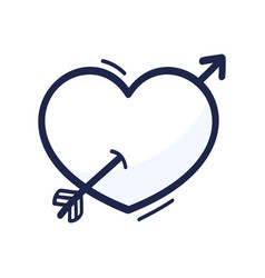 heart with arrow hand drawn in hand drawn cartoon vector image
