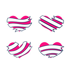 Hearts with ribbon banners 3 vector