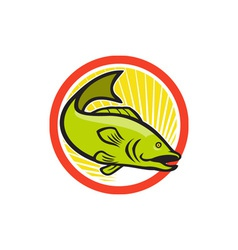 Largemouth Bass Jumping Cartoon Circle vector
