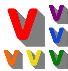 letter v sign design template element set of red vector image