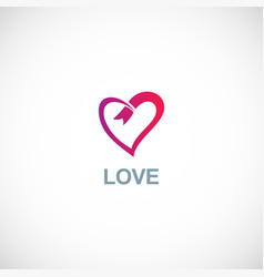 love ribbon logo vector image