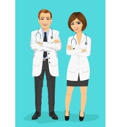 male and female doctors standing with arms folded vector image
