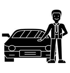 man with new car - car dealer - auto dealership vector image