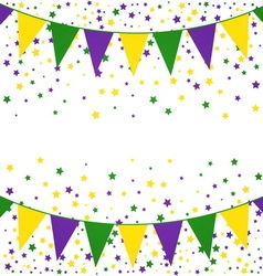 Mardi Gras bunting background with confetti stars vector image