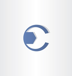 Mechanic key letter c symbol design vector