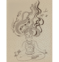 Meditating girl with tousled hair vector