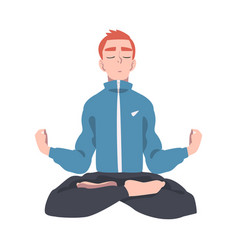 meditative male engaged in pranayama practice vector image