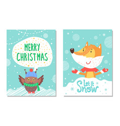 Merry christmas greeting cards with fox and owl vector