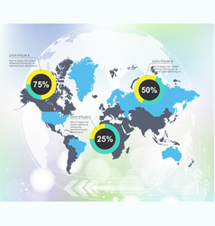 Modern world map infographic with abstract world vector