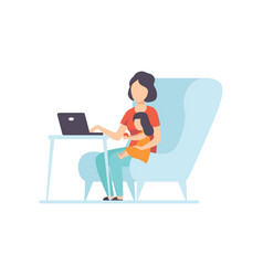 Mother working at home on laptop computer her vector