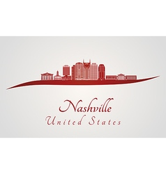 Nashville skyline in red vector image