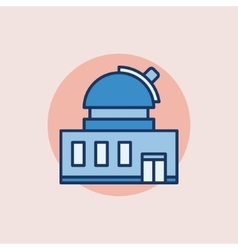 Observatory building flat icon vector image