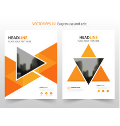 orange triangle annual report brochure design vector image vector image