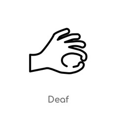 Outline deaf icon isolated black simple line vector