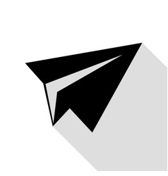 Paper airplane sign black icon with flat style vector