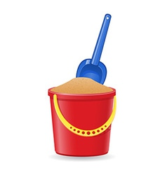 plastic bucket and shovel 02 vector image