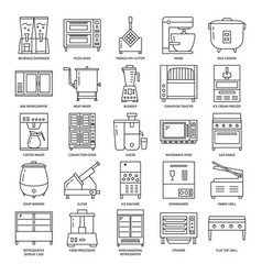 professional kitchen equipment icon set in line vector image