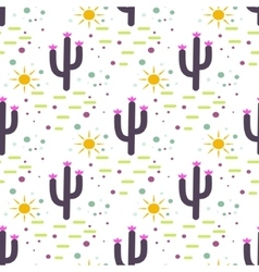Purple and white cactus desert seamless pattern vector