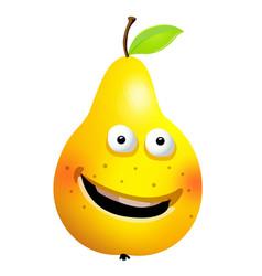Raw pear cartoon character vector