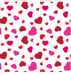 Red and pink hearts seamless pattern cute vector